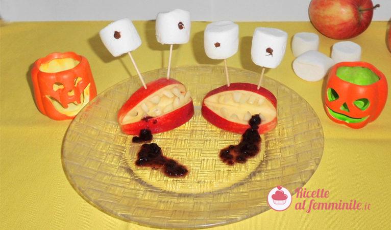 Dentiere di mela, un dolcetto per Halloween - immagine-evidenza-ricettealfemminile-766x452