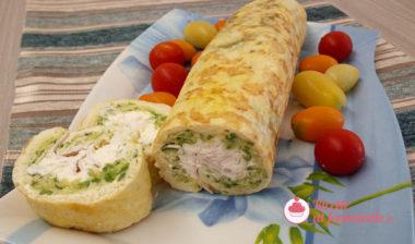 Rotolo di frittata farcito con zucchine e philadelphia