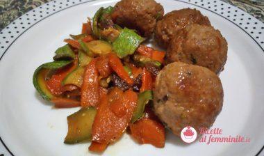 Polpette con verdure in salsa agrodolce