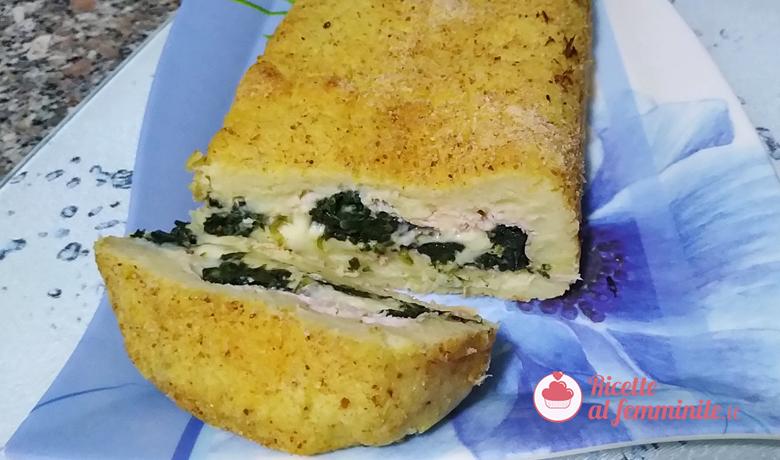 Rotolo di patate e spinaci con formaggio e prosciutto 1